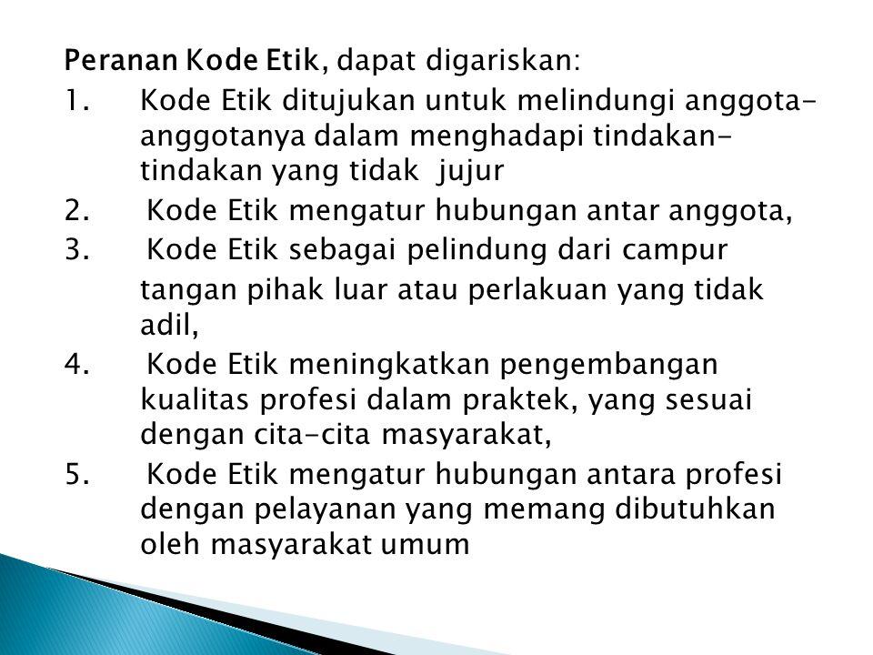 Peranan Kode Etik, dapat digariskan: 1.