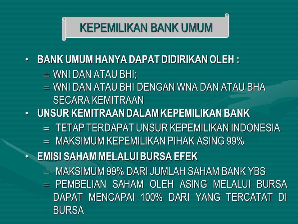 BANK UMUM HANYA DAPAT DIDIRIKAN OLEH : BANK UMUM HANYA DAPAT DIDIRIKAN OLEH :  WNI DAN ATAU BHI;  WNI DAN ATAU BHI DENGAN WNA DAN ATAU BHA SECARA KE