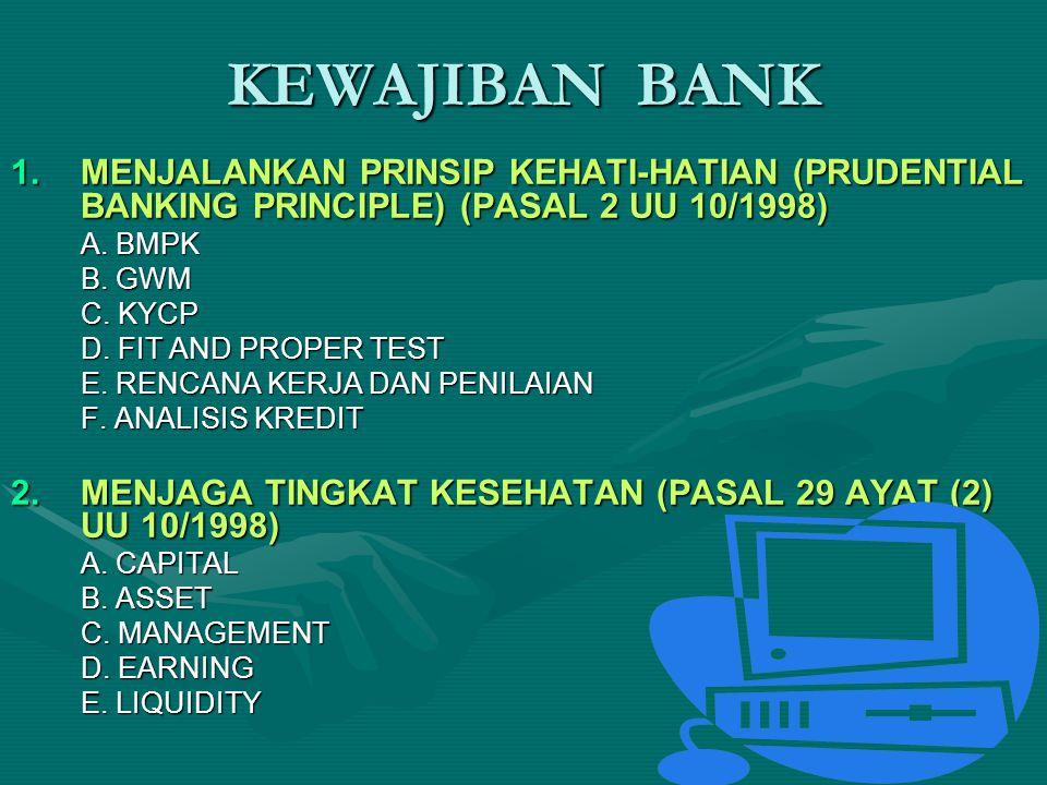 1.MENJALANKAN PRINSIP KEHATI-HATIAN (PRUDENTIAL BANKING PRINCIPLE) (PASAL 2 UU 10/1998) A. BMPK B. GWM C. KYCP D. FIT AND PROPER TEST E. RENCANA KERJA