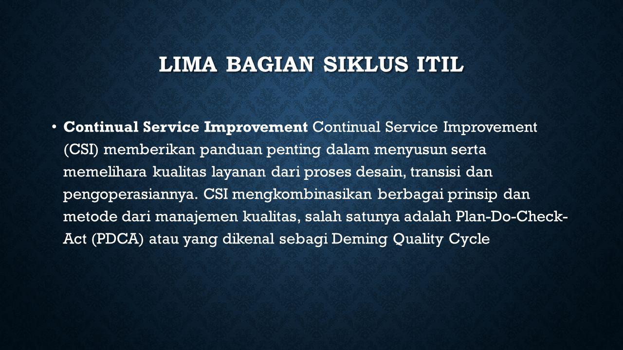 LIMA BAGIAN SIKLUS ITIL Continual Service Improvement Continual Service Improvement (CSI) memberikan panduan penting dalam menyusun serta memelihara k