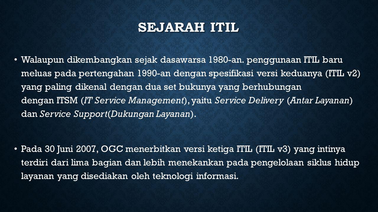 LIMA BAGIAN SIKLUS ITIL Service Strategy Service Design Service Transition Service Operation Continual Service Improvement