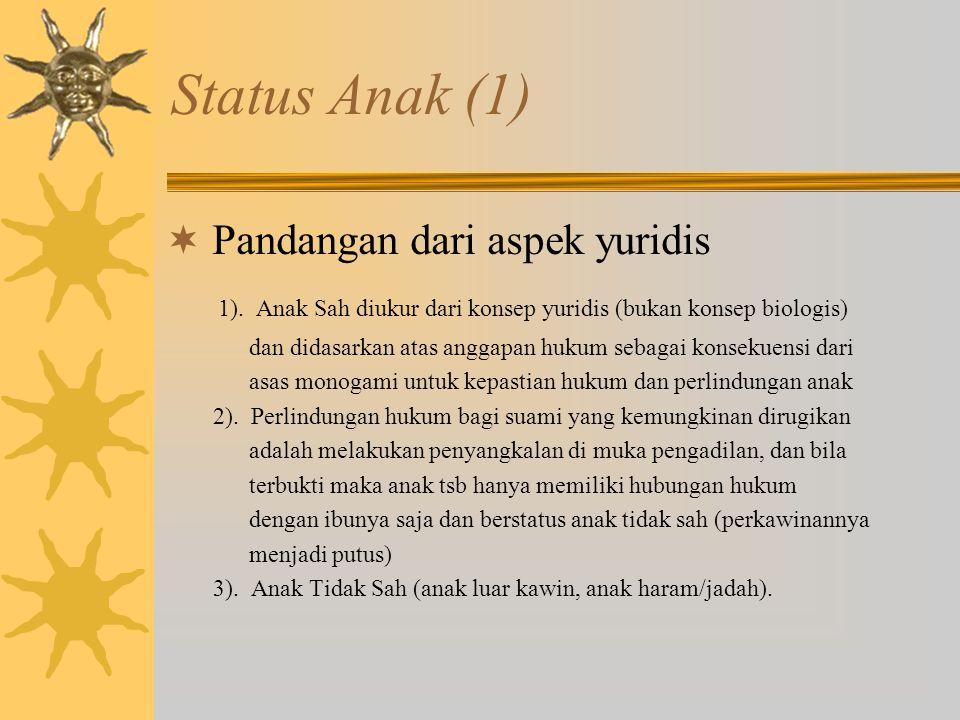 Status Anak (1)  Pandangan dari aspek yuridis 1).