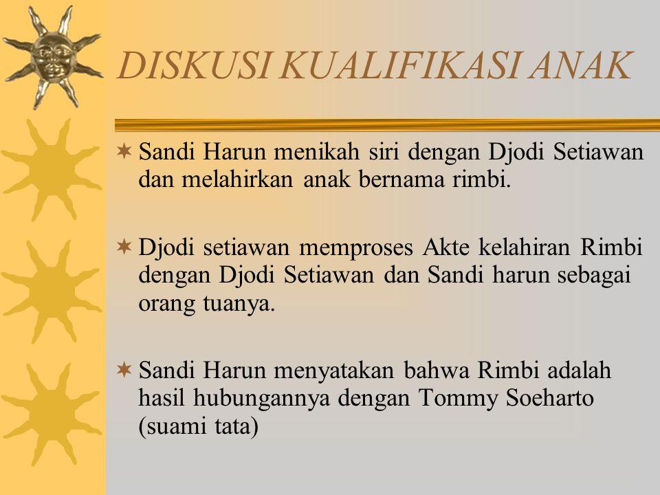 DISKUSI KUALIFIKASI ANAK  Sandi Harun menikah siri dengan Djodi Setiawan dan melahirkan anak bernama rimbi.