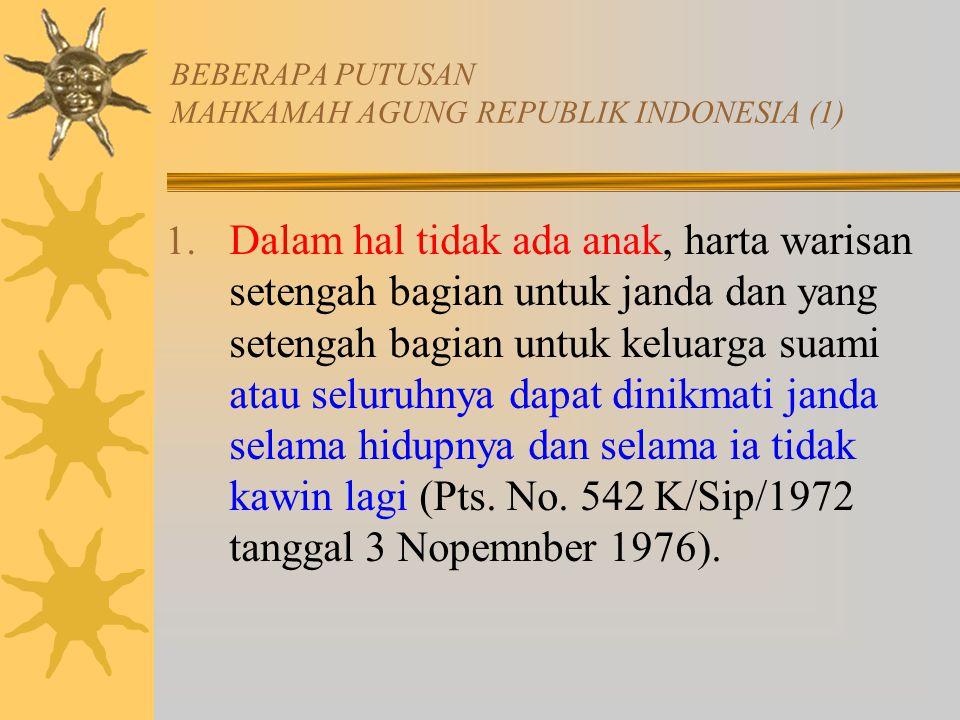 BEBERAPA PUTUSAN MAHKAMAH AGUNG REPUBLIK INDONESIA (1) 1.