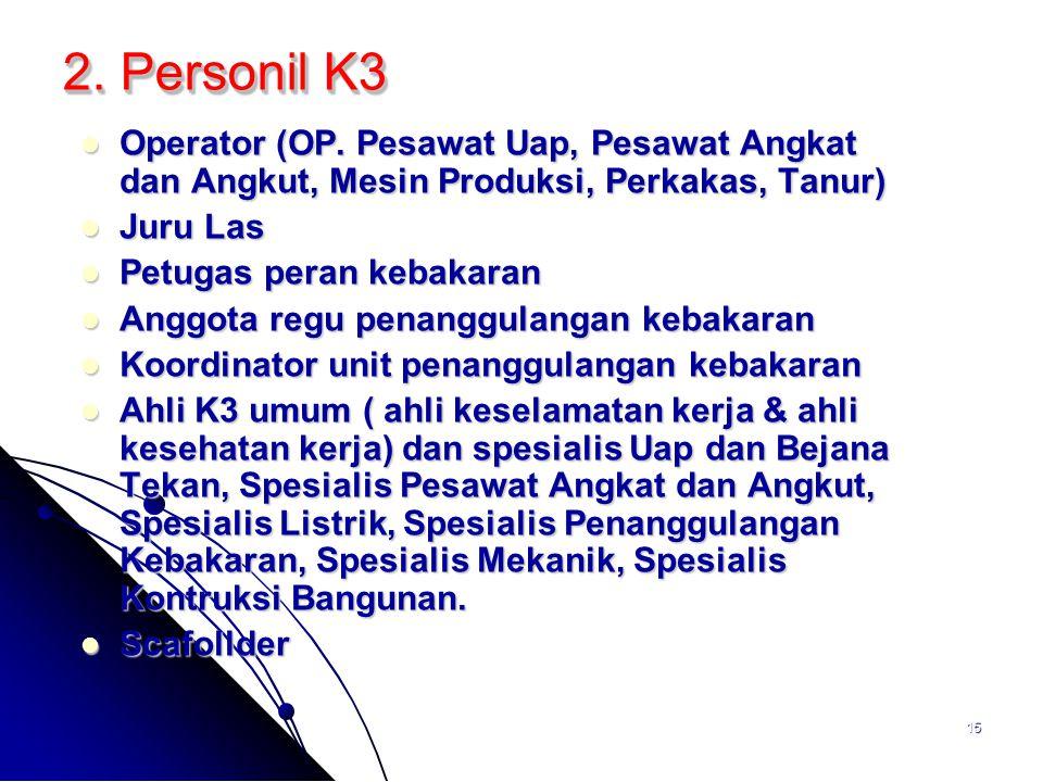 15 2. Personil K3 Operator (OP. Pesawat Uap, Pesawat Angkat dan Angkut, Mesin Produksi, Perkakas, Tanur) Operator (OP. Pesawat Uap, Pesawat Angkat dan