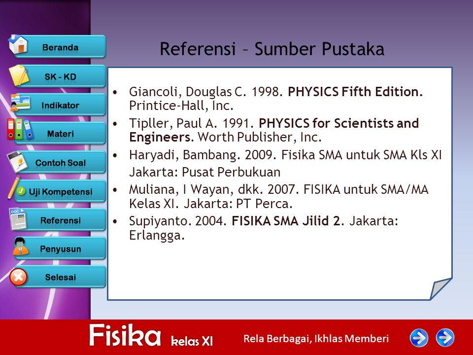 Rela Berbagai, Ikhlas Memberi Fisika kelas XI Referensi – Sumber Pustaka Giancoli, Douglas C. 1998. PHYSICS Fifth Edition. Printice-Hall, Inc. Tipller