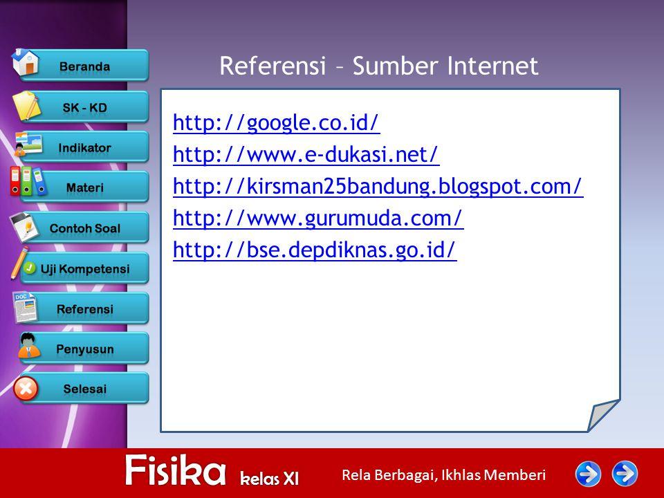 Rela Berbagai, Ikhlas Memberi Fisika kelas XI Referensi – Sumber Internet http://google.co.id/ http://www.e-dukasi.net/ http://kirsman25bandung.blogsp
