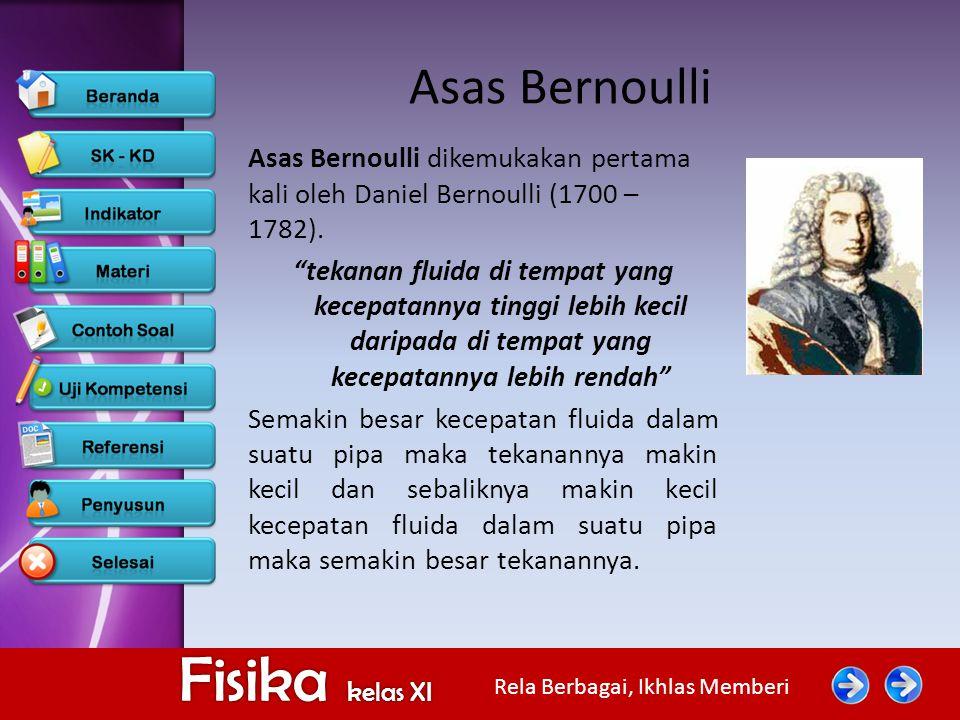 """Rela Berbagai, Ikhlas Memberi Fisika kelas XI Asas Bernoulli Asas Bernoulli dikemukakan pertama kali oleh Daniel Bernoulli (1700 – 1782). """"tekanan flu"""