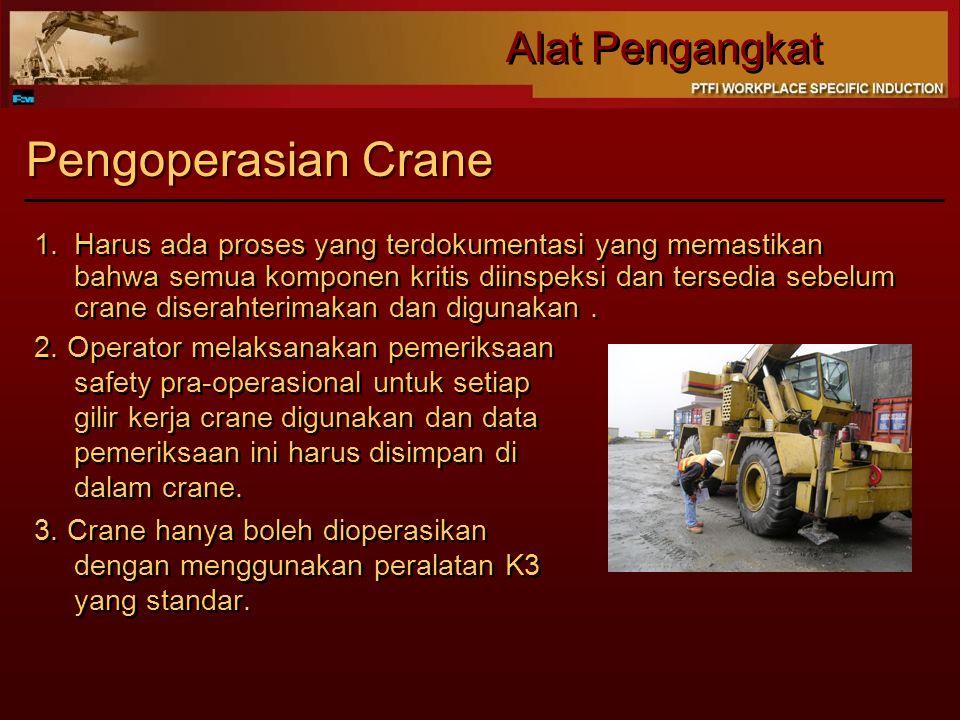 Alat Pengangkat Pengoperasian Crane 2. Operator melaksanakan pemeriksaan safety pra-operasional untuk setiap gilir kerja crane digunakan dan data peme
