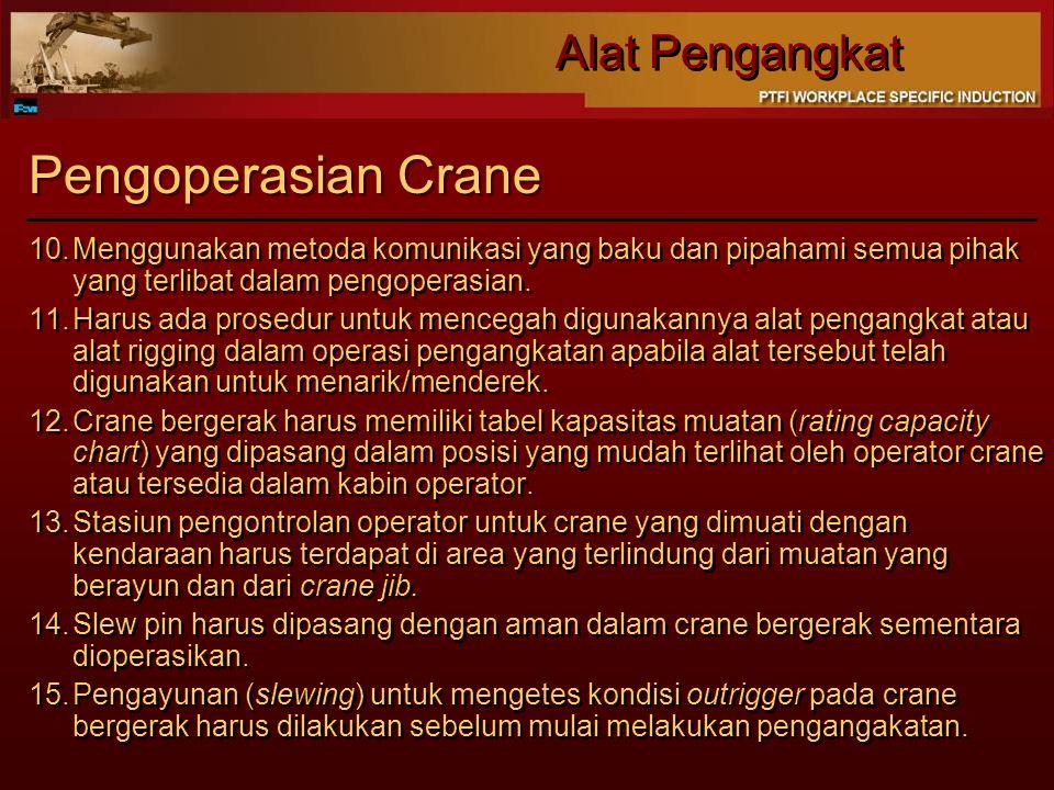 Alat Pengangkat Pengoperasian Crane 10.Menggunakan metoda komunikasi yang baku dan pipahami semua pihak yang terlibat dalam pengoperasian. 11.Harus ad