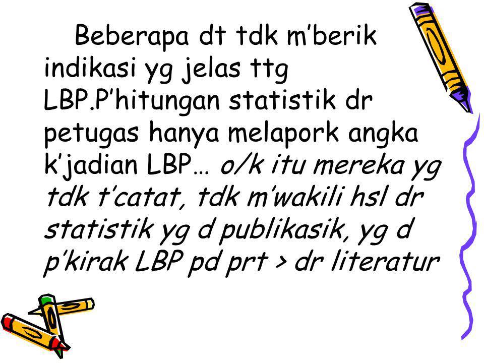 Beberapa dt tdk m'berik indikasi yg jelas ttg LBP.P'hitungan statistik dr petugas hanya melapork angka k'jadian LBP… o/k itu mereka yg tdk t'catat, tdk m'wakili hsl dr statistik yg d publikasik, yg d p'kirak LBP pd prt > dr literatur