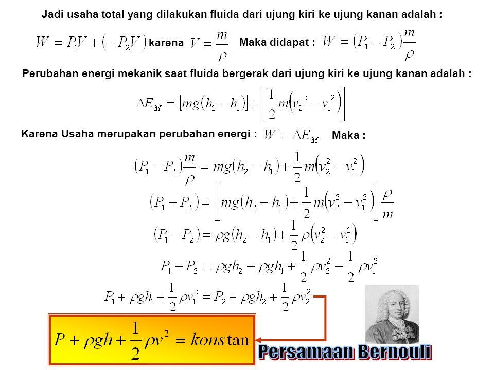 Jadi usaha total yang dilakukan fluida dari ujung kiri ke ujung kanan adalah : karena Maka didapat : Perubahan energi mekanik saat fluida bergerak dar