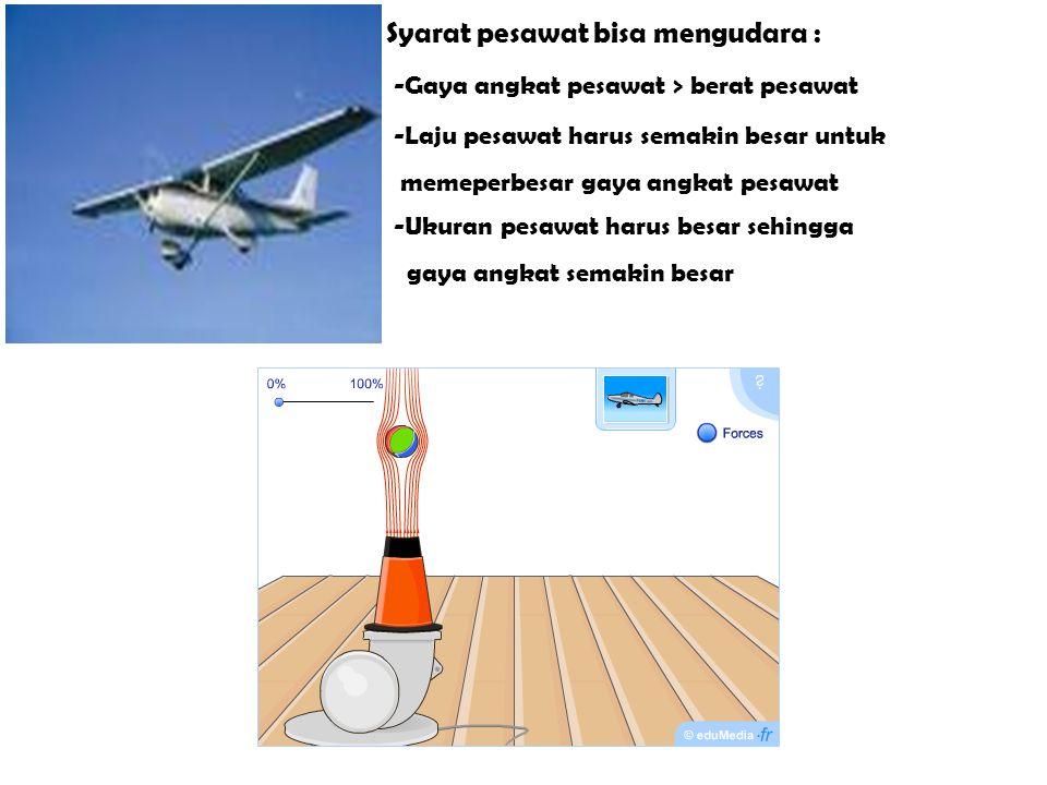 Syarat pesawat bisa mengudara : -Gaya angkat pesawat > berat pesawat -L-Laju pesawat harus semakin besar untuk memeperbesar gaya angkat pesawat -U-Uku