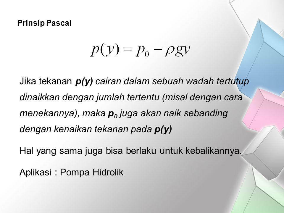 Prinsip Pascal Jika tekanan p(y) cairan dalam sebuah wadah tertutup dinaikkan dengan jumlah tertentu (misal dengan cara menekannya), maka p 0 juga aka