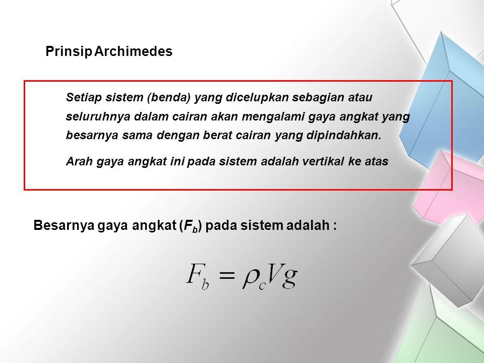 Prinsip Archimedes Setiap sistem (benda) yang dicelupkan sebagian atau seluruhnya dalam cairan akan mengalami gaya angkat yang besarnya sama dengan be