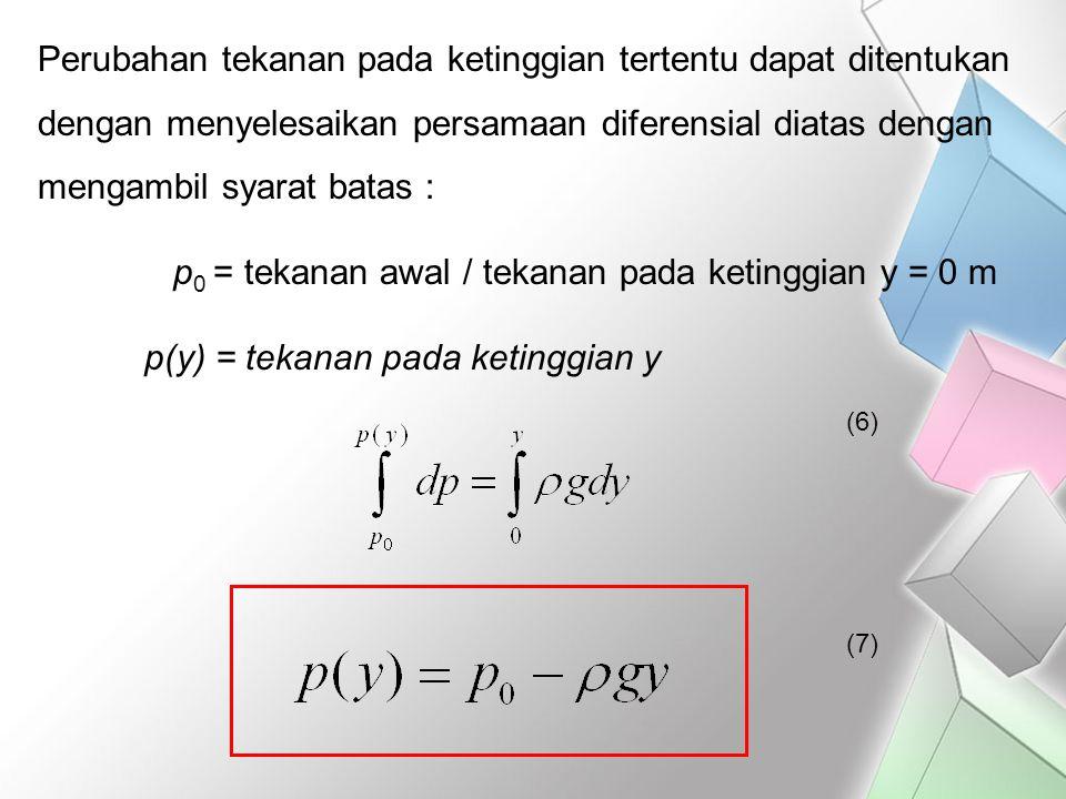 Perubahan tekanan pada ketinggian tertentu dapat ditentukan dengan menyelesaikan persamaan diferensial diatas dengan mengambil syarat batas : p 0 = te