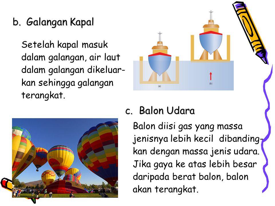 b.Galangan Kapal Setelah kapal masuk dalam galangan, air laut dalam galangan dikeluar- kan sehingga galangan terangkat. c.Balon Udara Balon diisi gas