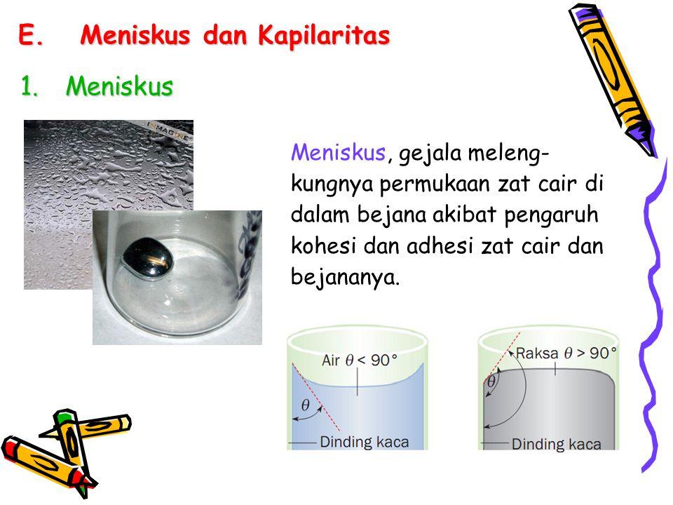 E.Meniskus dan Kapilaritas Meniskus, gejala meleng- kungnya permukaan zat cair di dalam bejana akibat pengaruh kohesi dan adhesi zat cair dan bejanany