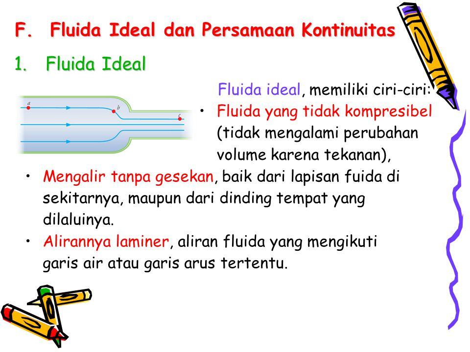 F.Fluida Ideal dan Persamaan Kontinuitas 1.Fluida Ideal Fluida ideal, memiliki ciri-ciri: Fluida yang tidak kompresibel (tidak mengalami perubahan vol