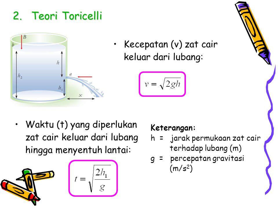 2.Teori Toricelli Kecepatan (v) zat cair keluar dari lubang: Waktu (t) yang diperlukan zat cair keluar dari lubang hingga menyentuh lantai: Keterangan