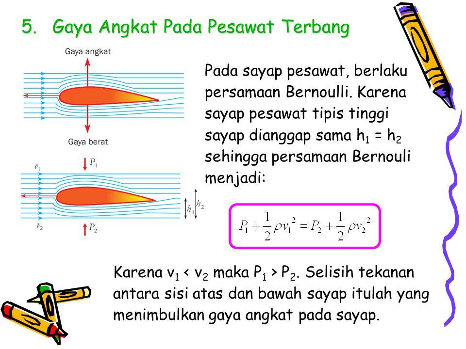 5.Gaya Angkat Pada Pesawat Terbang Pada sayap pesawat, berlaku persamaan Bernoulli. Karena sayap pesawat tipis tinggi sayap dianggap sama h 1 = h 2 se