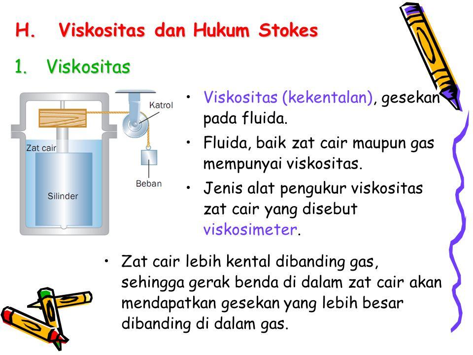 H.Viskositas dan Hukum Stokes 1.Viskositas Viskositas (kekentalan), gesekan pada fluida. Fluida, baik zat cair maupun gas mempunyai viskositas. Jenis