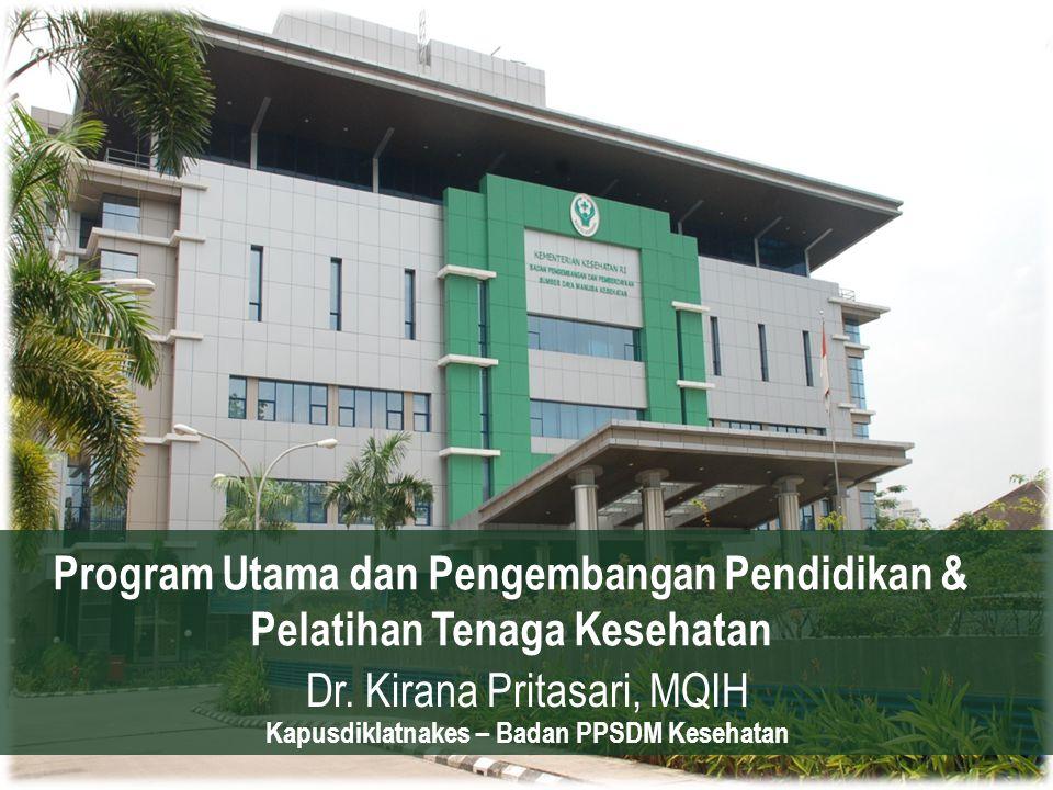 Program Utama dan Pengembangan Pendidikan & Pelatihan Tenaga Kesehatan Dr. Kirana Pritasari, MQIH Kapusdiklatnakes – Badan PPSDM Kesehatan