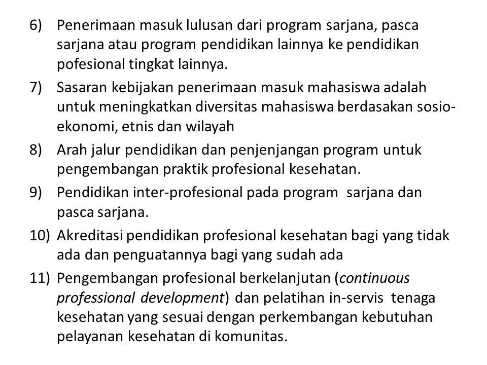 6)Penerimaan masuk lulusan dari program sarjana, pasca sarjana atau program pendidikan lainnya ke pendidikan pofesional tingkat lainnya.