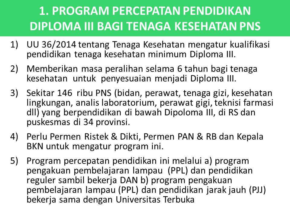 1. PROGRAM PERCEPATAN PENDIDIKAN DIPLOMA III BAGI TENAGA KESEHATAN PNS 1)UU 36/2014 tentang Tenaga Kesehatan mengatur kualifikasi pendidikan tenaga ke