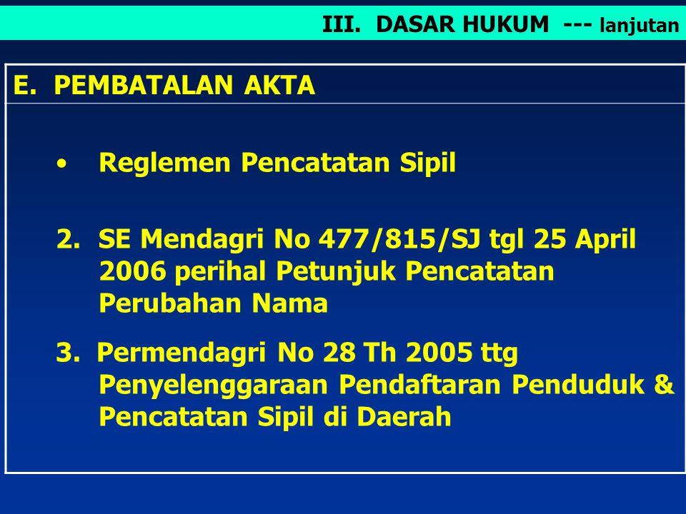 D. PERUBAHAN NAMA Undang – undang RI No 4 Tahun 1961 tentang Perubahan Nama. 2.SE Mendagri No 477/815/SJ tgl 25 April 2006 perihal Petunjuk Pencatatan