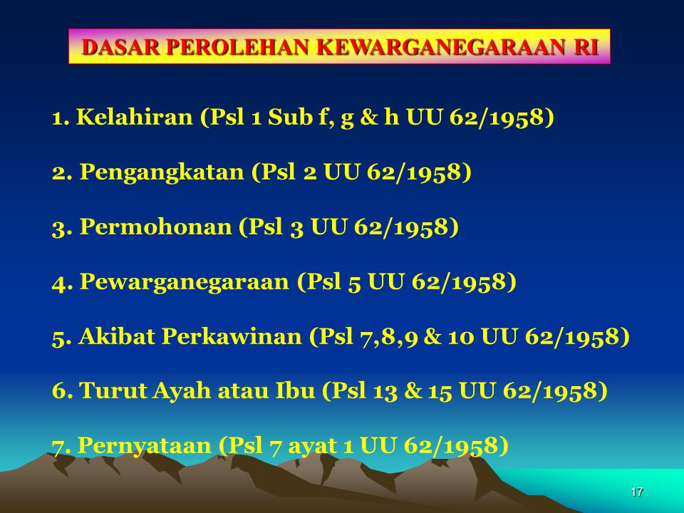 16 DASAR KEHILANGAN KEWARGANEGARAAN INDONESIA Memperoleh Kewarganegaraan lain karena kemauan sendiri. 1.Tidak menolak atau melepaskan kewarganegaraan