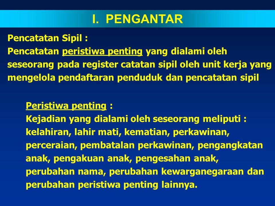 SISTEMATIKA I.PENGANTAR II.PENGERTIAN III.DASAR HUKUM IV.PRINSIP PENCATATAN V.MEKANISME PENCATATAN 1. PERSYARATAN 2. PROSEDUR 3. JENIS FORMULIR DAN BL