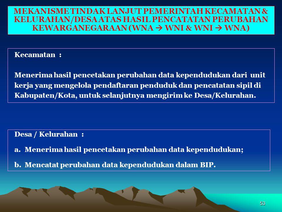 52 MEKANISME PENCATATAN PERUBAHAN KEWARGANEGARAAN DARI WNI KE WNA DI INDONESIA - Pelaporan perubahan kewarganegaraan : Penduduk datang ke Instansi Pen