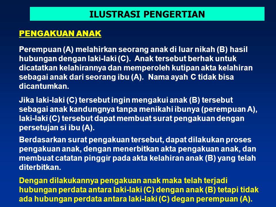 ILUSTRASI PENGERTIAN Perempuan (A) melahirkan seorang anak di luar nikah (B) hasil hubungan dengan laki-laki (C).
