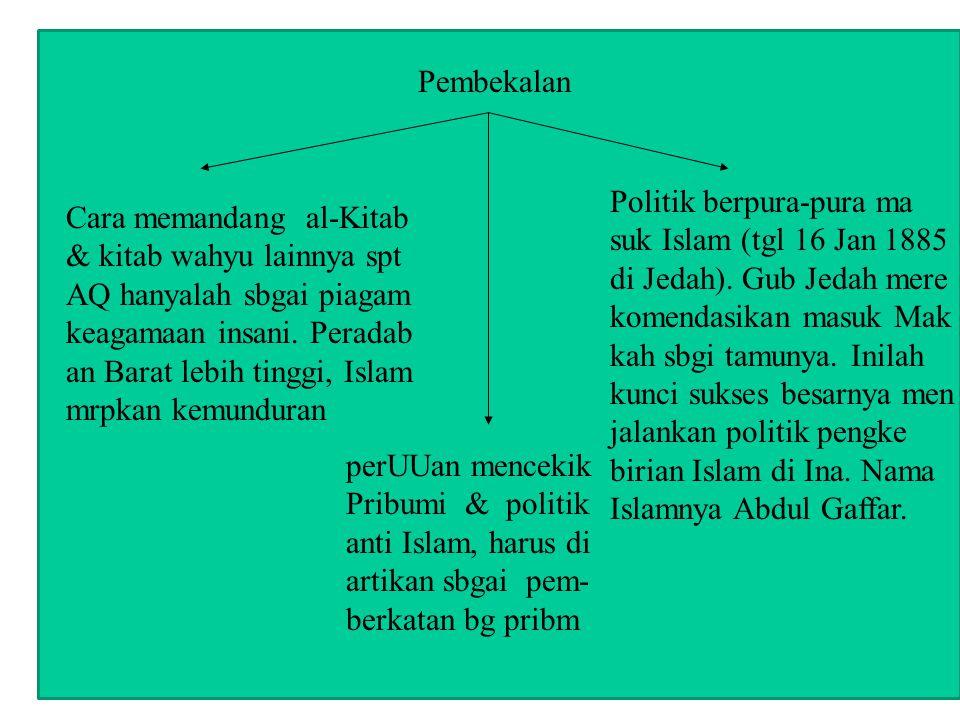 Cara memandang al-Kitab & kitab wahyu lainnya spt AQ hanyalah sbgai piagam keagamaan insani. Peradab an Barat lebih tinggi, Islam mrpkan kemunduran pe