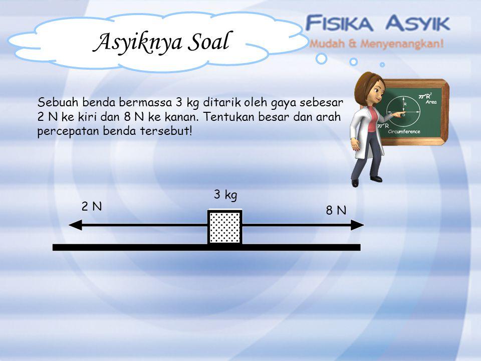 Asyiknya Soal Sebuah benda bermassa 3 kg ditarik oleh gaya sebesar 2 N ke kiri dan 8 N ke kanan. Tentukan besar dan arah percepatan benda tersebut! 2
