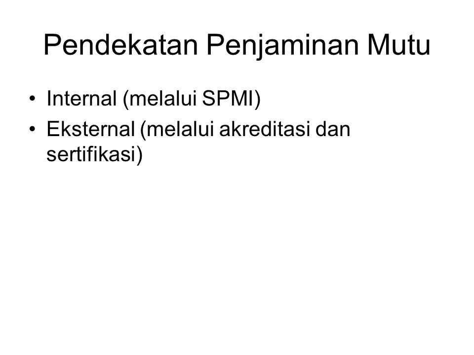 Pendekatan Penjaminan Mutu Internal (melalui SPMI) Eksternal (melalui akreditasi dan sertifikasi)