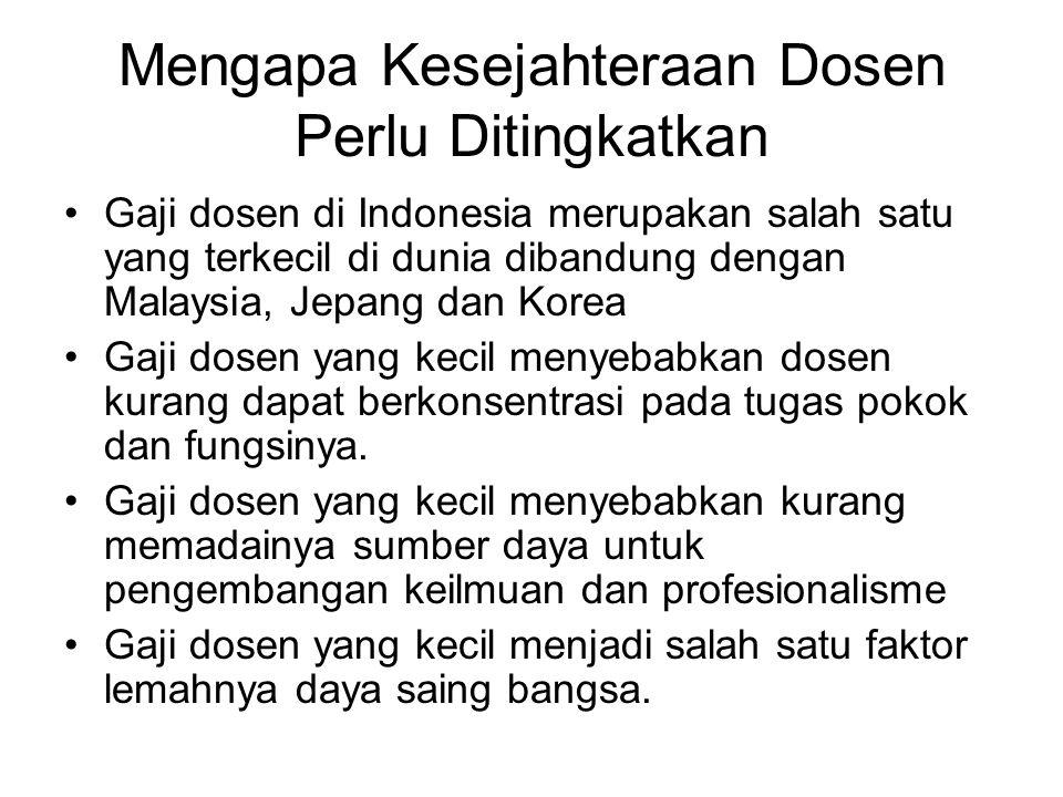 Mengapa Kesejahteraan Dosen Perlu Ditingkatkan Gaji dosen di Indonesia merupakan salah satu yang terkecil di dunia dibandung dengan Malaysia, Jepang dan Korea Gaji dosen yang kecil menyebabkan dosen kurang dapat berkonsentrasi pada tugas pokok dan fungsinya.
