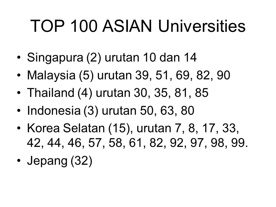 TOP 100 ASIAN Universities Singapura (2) urutan 10 dan 14 Malaysia (5) urutan 39, 51, 69, 82, 90 Thailand (4) urutan 30, 35, 81, 85 Indonesia (3) urutan 50, 63, 80 Korea Selatan (15), urutan 7, 8, 17, 33, 42, 44, 46, 57, 58, 61, 82, 92, 97, 98, 99.