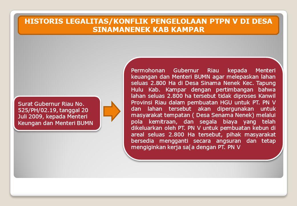 HISTORIS LEGALITAS/KONFLIK PENGELOLAAN PTPN V DI DESA SINAMANENEK KAB KAMPAR Surat Gubernur Riau No. 525/PH/02.19, tanggal 20 Juli 2009, kepada Menter