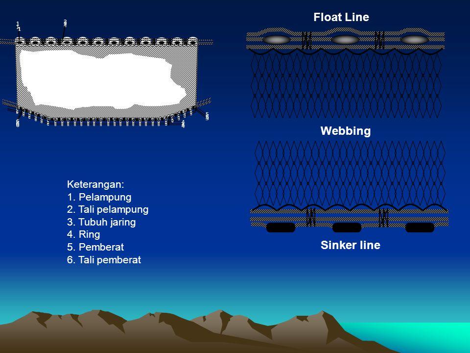 o o o o o o oooooooooooooooo o o o o o o 3 1 2 5 4 6 Float Line Sinker line Webbing Keterangan: 1. Pelampung 2. Tali pelampung 3. Tubuh jaring 4. Ring