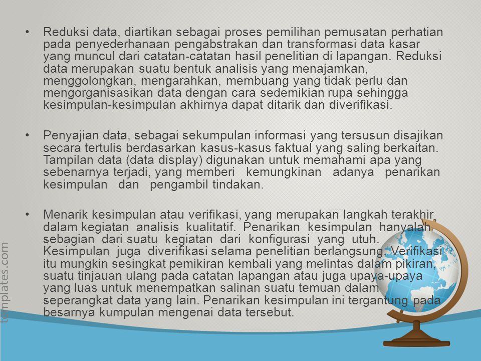 © free-ppt- templates.com Pembenahan... Pengumpulan Data Reduksi Data Sajian Data Kesimpulan / Verifikasi