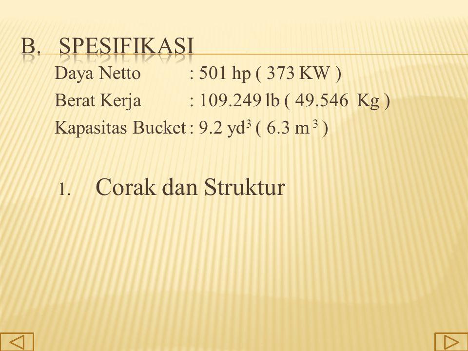Daya Netto: 501 hp ( 373 KW ) Berat Kerja: 109.249 lb ( 49.546 Kg ) Kapasitas Bucket: 9.2 yd 3 ( 6.3 m 3 ) 1. Corak dan Struktur