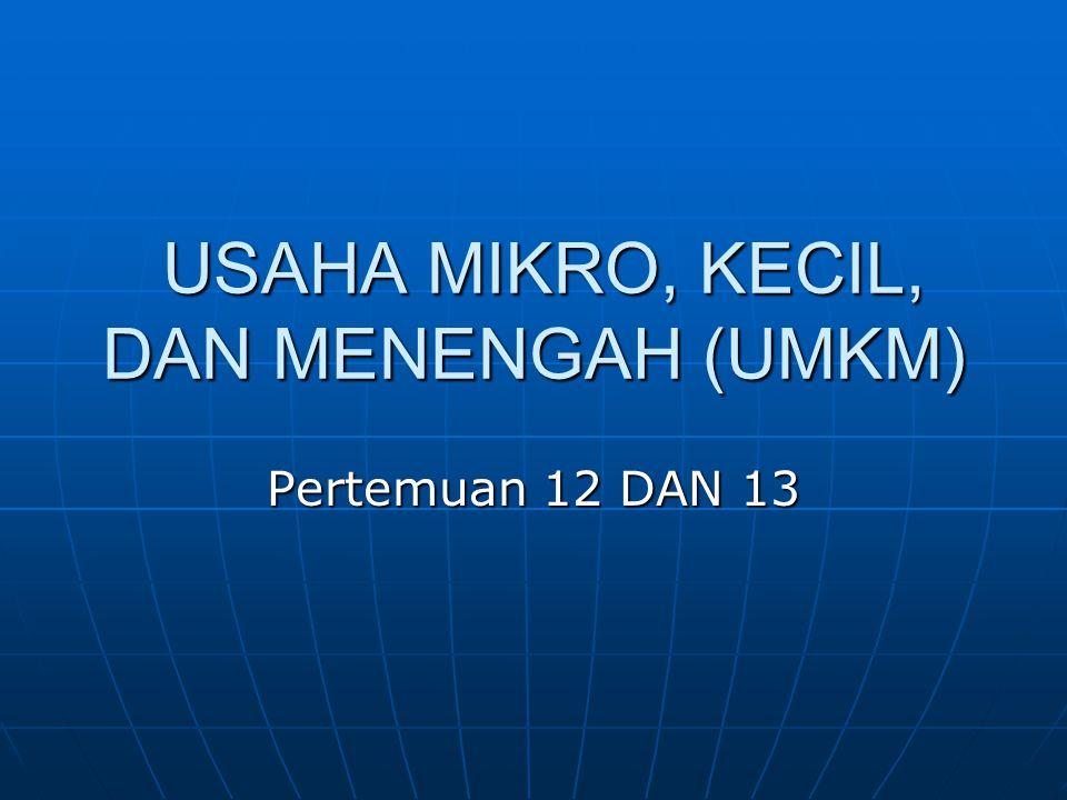 USAHA MIKRO, KECIL, DAN MENENGAH (UMKM) USAHA MIKRO, KECIL, DAN MENENGAH (UMKM) Pertemuan 12 DAN 13