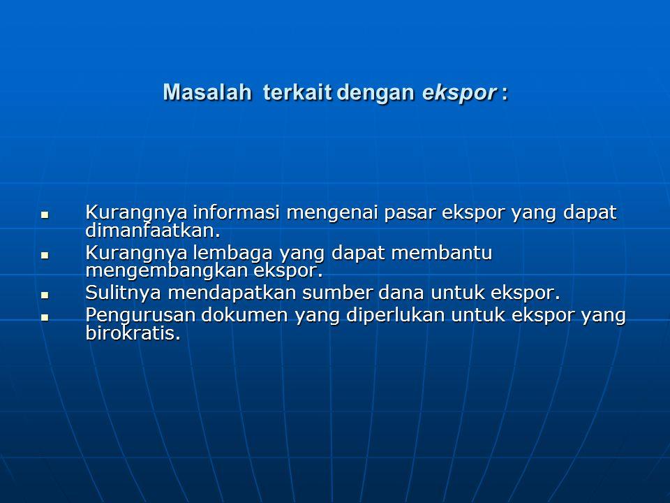 Masalah terkait dengan ekspor : Kurangnya informasi mengenai pasar ekspor yang dapat dimanfaatkan.