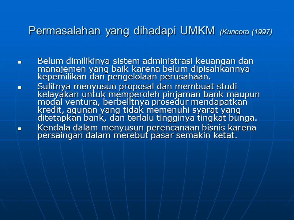 Permasalahan yang dihadapi UMKM (Kuncoro (1997) Permasalahan yang dihadapi UMKM (Kuncoro (1997) Belum dimilikinya sistem administrasi keuangan dan manajemen yang baik karena belum dipisahkannya kepemilikan dan pengelolaan perusahaan.