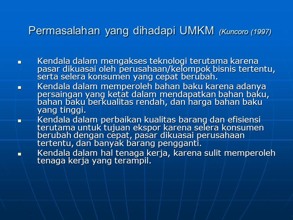 Permasalahan yang dihadapi UMKM (Kuncoro (1997) Permasalahan yang dihadapi UMKM (Kuncoro (1997) Kendala dalam mengakses teknologi terutama karena pasar dikuasai oleh perusahaan/kelompok bisnis tertentu, serta selera konsumen yang cepat berubah.
