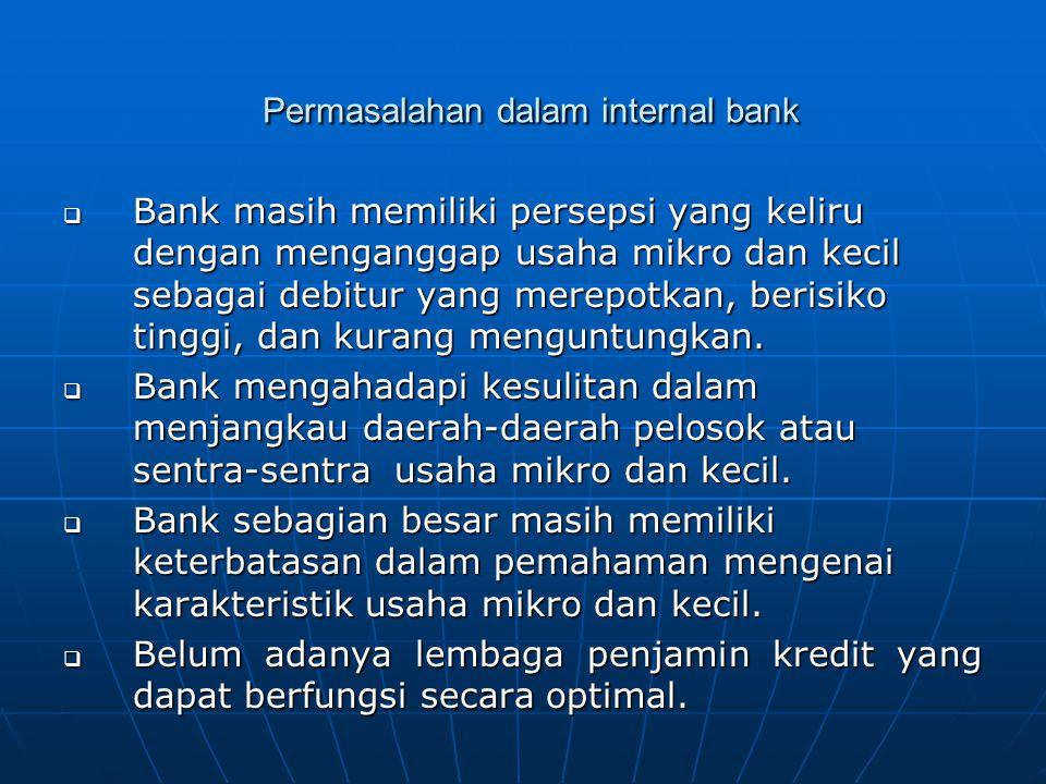 Permasalahan dalam internal bank Permasalahan dalam internal bank  Bank masih memiliki persepsi yang keliru dengan menganggap usaha mikro dan kecil sebagai debitur yang merepotkan, berisiko tinggi, dan kurang menguntungkan.