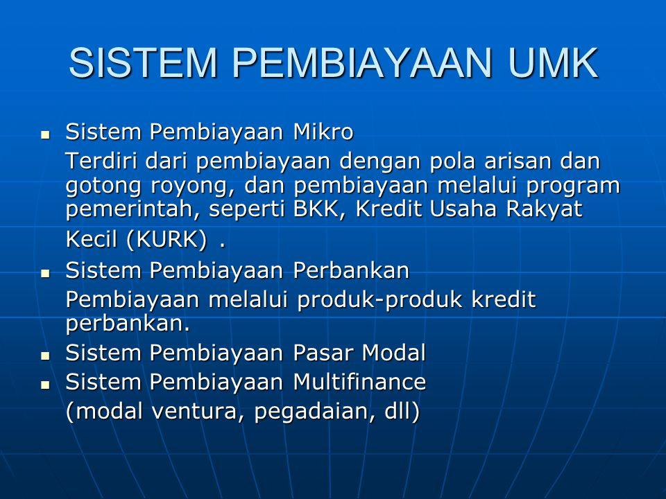 SISTEM PEMBIAYAAN UMK Sistem Pembiayaan Mikro Sistem Pembiayaan Mikro Terdiri dari pembiayaan dengan pola arisan dan gotong royong, dan pembiayaan melalui program pemerintah, seperti BKK, Kredit Usaha Rakyat Kecil (KURK).