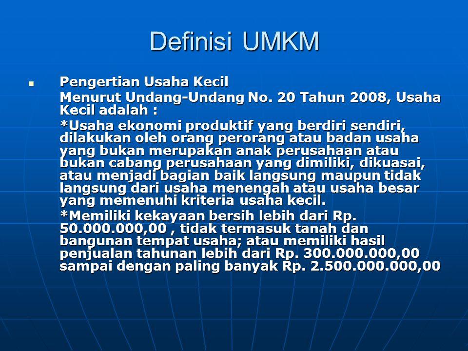 Definisi UMKM Pengertian Usaha Kecil Pengertian Usaha Kecil Menurut Undang-Undang No.